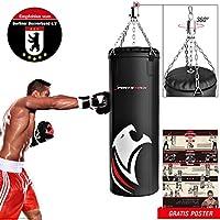 Sportstech doppelverstärkter Kampfsport Profi-Boxsack mit 40 cm Durchmesser & 360° Fixierung inkl. Trainingsposter, gefüllter Boxing bag in den Größen 60 – 150 cm BXP empfohlen vom Berliner Boxverband