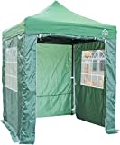 All Seasons Gazebos, Choice Of 5 Colours, 2x2m Heavy Duty, Fully Waterproof , Premium Pop Up Gazebo With 4 x Zip Up Side Panels, Carry Bag With Wheels and 4 x leg weight bags (Green)