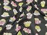 Funky Cupcakes Print Baumwolle Popeline Stoff schwarz