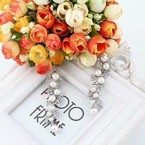 EVER FAITH® österreichisches Kristall künstliche Perlen Elegant Schön Blätter Braut Ohranhänger Ohrring Modeschmuck Silber-Ton A08831-1 - 3