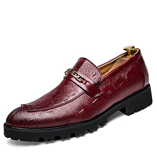 DINGGUANGHE-SHOES Lackleder Herren Komfortable Business Oxford Casual Klassische Jugendmode Metall Accessoires Atmungsaktive Formelle Schuhe Abendgarderobe Dress Schuhe (Color : Rot, Größe : 40 EU)