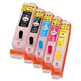 Nachfüllbare Tintenpatrone von Hemei @, 5x PGI-570 und CLI-571, für Drucker Pixma MG5750,MG5751,MG5752,MG5753,MG6850,MG6851,MG6852,MG6853,PGI-570XL