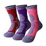 RedMaple 3 Pairs Camping Hiking Walking Socks for Women - Cushioned Comfortable Fitness