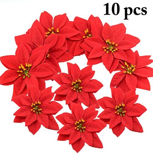 Outgeek Christmas Poinsettias Red Velvet Decorative Artificial Flowers Christmas Flowers