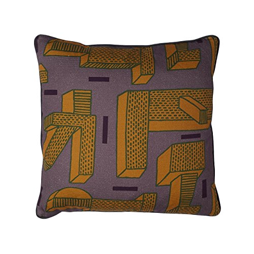 HAY Printed Cushion Kissen In the Grass, ocker mit Federfüllung 50x50cm