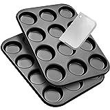 Zenker Macarons Back-Set 2 Backbleche und 1 Teigschaber, Backform für 12 köstliche Makaronen (Ø 6,5 cm), Whoopies-Backblech, Maße: 38,5 x 26,5 cm