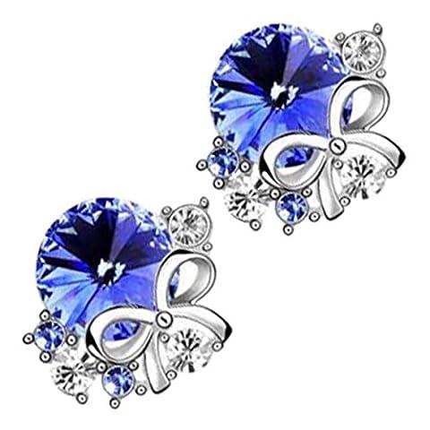 GWG® Boucles D'Oreilles Pinces Pour Femmes Plaquées En Argent Sterling Avec Pierre Ronde Bleu Saphire Ornée De Nœuds En