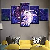 Fyyanm Leinwand Wohnkultur Wohnzimmer Gemälde 5 Stücke Koi Yin Yang Fisch Avatar Bilder Hd Gedruckt Poster Modulare Wandkunst-20X35Cmx2 20X45Cmx2 20X55Cm
