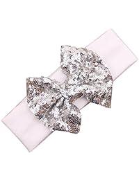 Baby-Haarband - SODIAL(R)Elastische Kinderstirnband niedlich Pailletten-Bogen-Baby-Haar-Zusaetze (Weiss + Silber)