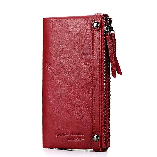 Leder Tri-fold Brieftasche (AUMING Frauen Weiche Echtes Leder Trifold Lange Brieftasche Große Kapazität Öl Wachs Rindsleder Karte Fall Clutch Clutch Clutch Bag)