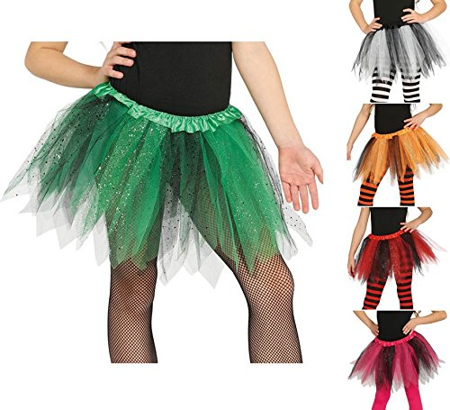 Tütü Tutu grün schwarz mit Glitzer für Kinder Fee Ballett Party Rock Tänzerin ca. 30cm