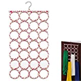 #5: House Of Quirk 28-hole Hangers Ring Rope Slots Holder Hook Scarf Wraps Storage Hanger Organizer Scarf Rack Tie Rack