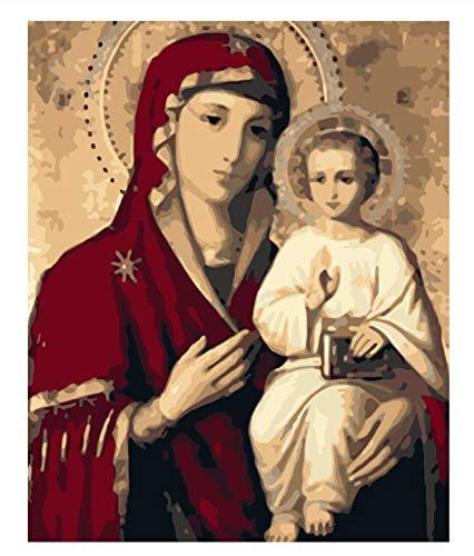 María la Virgen María figura DIY Pintura digital por número Arte moderno de la pared Pintura de la lona Decoración única de la habitación 50x65cm sin marco