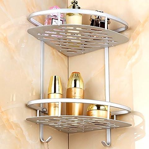 Bathroom Shelf Durable Aluminum 2 Tiers Shower Storage Towel BarBasket Kitchen Large Corner Basket Two-Tier Shelf