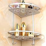 [Patrocinado]Aleación de aluminio esquinera para baño estantes, estante para ducha cesta de jabón champú toalla gancho doble para pared estante organizador