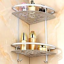 Aleación de aluminio esquinera para baño estantes, estante para ducha cesta de jabón champú toalla gancho doble para pared estante organizador