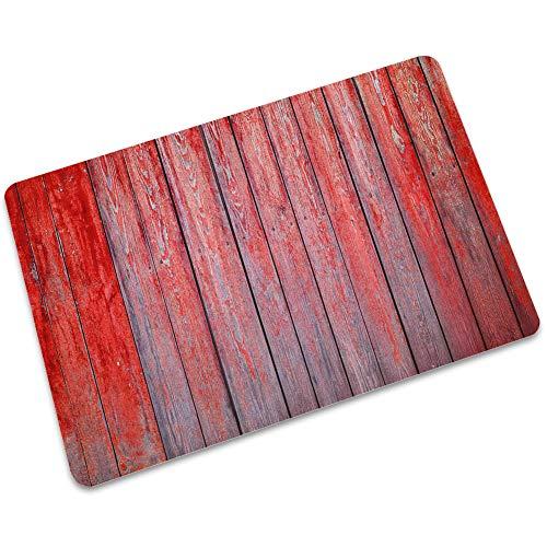 ZYT Antibakterielle, leicht zu reinigen, Wohnzimmer Schlafzimmer küche Gummi Teppich Matte rutschfeste rote holzplatte 60 * 90 cm