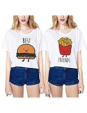 Beste Freunde T-shirt Best Friends Shirt für zwei Mädchen Set Damen Hamburger Pommes frites Oberteil Sommer Weiß...