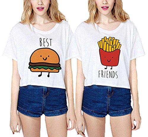 Best Friends T-shirt JWBBU ® Guter Freund Hamburger Pommes frites T-shirt für zwei Damen Mädchen Sommer Weiß Oberteil mit Aufdruck 2 Stücke (Best-S+Fr-S) (T-shirt Mädchen Damen)