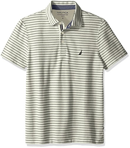 Nautica Herren Slim Fit Short Sleeve Striped Polo Shirt Polo Hemd - Beige - (Striped Polo Slim Shirt Fit)