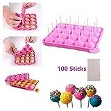 Moules à Lollipop Bonbon Plaque en silicone pour Faire Cake Pop Gâteaux Pâtisserie 20 Moules + 100 Bâtonnets-Rose