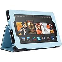 LESHP Funda de Cuero para Kindle Fire PU Suave la Caja Flip Folio Super Delgado de 7 Pulgadas de pantalla [Estilo Libro,Soporte Plegable y Cierre Magnético] (Azul)