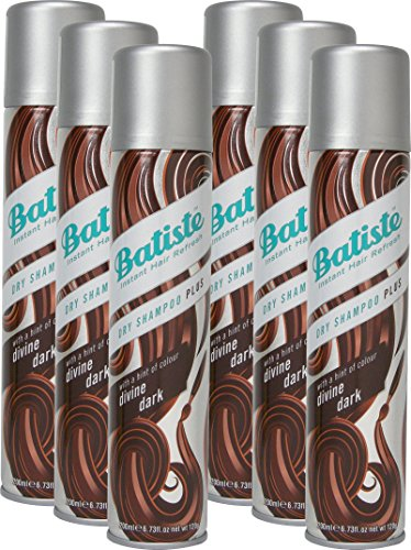 Batiste Divine Dark dry shampoo with a gentle hint of colour for black and dark brown hair, fresh hair for all hair types, pack of 6 (6x 200ml)