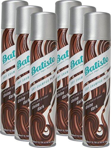 Batiste Trockenshampoo Dry Shampoo Divine Dark mit einem Hauch von Farbe für schwarzes und dunkelbraunes Haar, Frisches Haar für alle Haartypen, 6er Pack (6 x 200 ml)