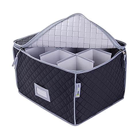 Wine Glass Storage Case - Deluxe Quilted Microfiber - Holds