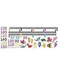 Dibujos animados patrón de crecimiento infantil Medición de la altura del bebé Gráfico etiqueta de la pared etiquetas del arte para la decoración del hogar