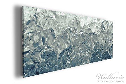 Wallario XXXL Riesen- Leinwandbild Leuchtendes Eis in blau-grau - 80 x 200 cm in Premium-Qualität:...