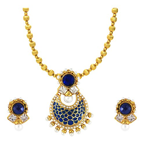 Ethnic Meenakari Gold Plated Kundan Necklace set with Artificial Pearl by Parisha Jewells NL707002  available at amazon for Rs.349