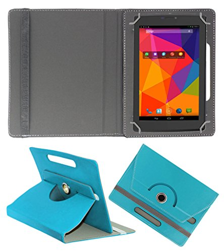 ACM ROTATING 360° LEATHER FLIP CASE FOR MICROMAX CANVAS TAB P480 TABLET STAND COVER HOLDER GREENISH BLUE  available at amazon for Rs.149