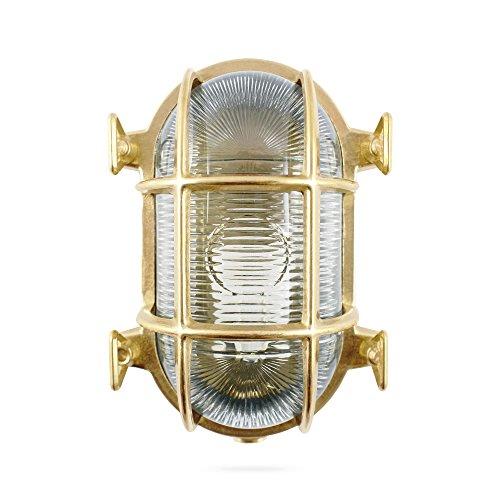 Foresti & Suardi - Ovale maritime Lampe | Schiffslampe | aus poliertem Messing | 175 x 130 mm | IP 54 | E27 Sockel (klares Glas) - Messing Bad-leuchten