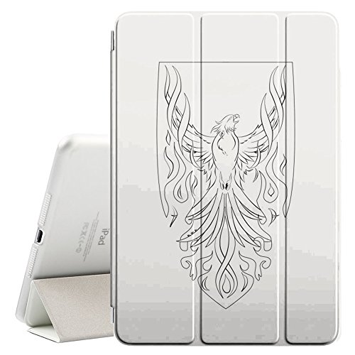 YOYOcovers [ FOR iPad Mini 2 / 3 / 4 ] Smart Cover con funzione del basamento di sonno - Minimalist Phoenix Bird Shield Art White