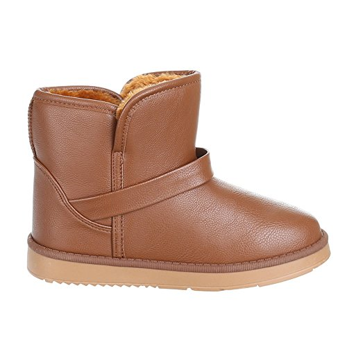 Damen Schuhe, YD-0421-1, WARM GEFÜTTERTE STIEFELETTEN BOOTS Camel