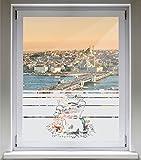 INDIGOS UG Sichtschutzfolie Glasdekorfolie Fensterfolie mit Motiv satiniert blickdicht - E934 Schweinefutter - 1200 mm Länge - 500 mm Höhe Streifen