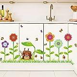 Wandaufkleber Cartoon Garten mit Bunten Blumen Gras Schmetterlinge Bienen Bugs Dekorative Abnehmbare Wanstickers DIY Vinyl Wall Decals für Kinderzimmer, Wohnzimmer, Schlafzimmer,Baseboard ,Flur, Küche,Garderobe