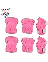 Luniquz Lot de 6 enfants de protection Gear Set pour Patinage, Professionnel genou/coude/poignet coussinets protecteurs