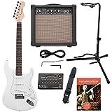 Rocktile Sphere Classic White E-Gitarre Set (E-Gitarre in ST-Design mit 3 Tonabnehmer und Tremolo, inklusive Verstärker, Ständer, Stimmgerät, Gurt und Gitarrenkabel) Weiß