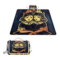 TIZORAX Gothic Witchcraft Siamese Twins Picnic Blanket Waterproof Outdoor Blanket Foldable Picnic Handy Mat Tote for Beach Camping Hiking