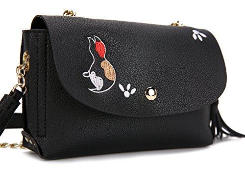Malirona Borsa a tracolla Borse a tracolla Donne in nappa Minigonna in pelle Borsa Purse Cat Design Nero