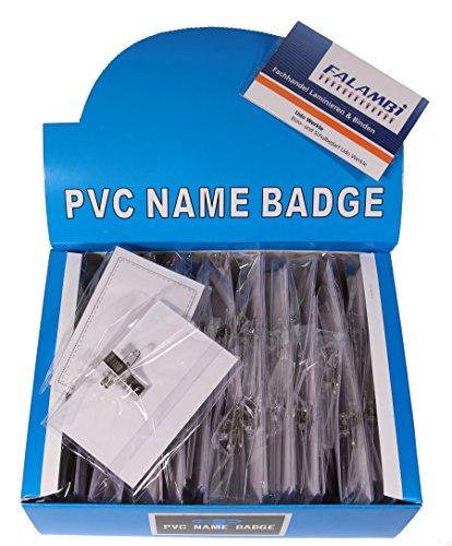 100 x Namensschilder / Kartenhalter mit Einleger + Clip + Nadel, 90 x 56 mm, Ansteckschild mit clip