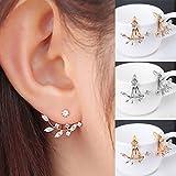XCSSKG moda placcato oro cristallo a forma di foglia orecchio giacca doppio Swing regalo orecchini Silver