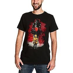 Elbenwald ES Camiseta para Hombre del Globo Rojo Pennywise a Stephen Reyes TI de algodón Negro S