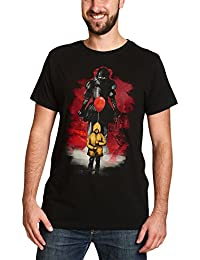 ES Men's T-Shirt Red Balloon Pennywise to Stephen Kings IT by Elbenwald cotton black