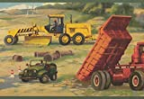 Retro Art Bau Website LKW Bulldozer Kids Wallpaper Border Retro Design, Roll-15' x 9
