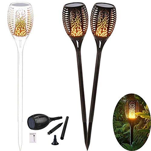 2 Stück Stehlampe (2 Stück Solarleuchte Solar Gartenleuchte Solar Garten Beleuchtung Garten Licht, Solarlampe mit Realistischen Flammen 96 LED Bis Dawn Automatische Ein/Aus und IP65 Wasserdicht Warmlicht)