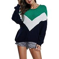 TWBB Damen Strickpullover,Winter Streifen Warm Outwear Elegant Warm Mantel Sweater Coat