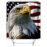 HUIYIYANG Benutzerdefinierte Duschvorhang, American Flag with Bald Eagle ThemeWasserdichter Anti Mehltau Gewebe Polyester Badezimmer Duschvorhang 60